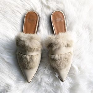 Franco Sarto Palmer 2 rabbit fur beige mules Sz 11